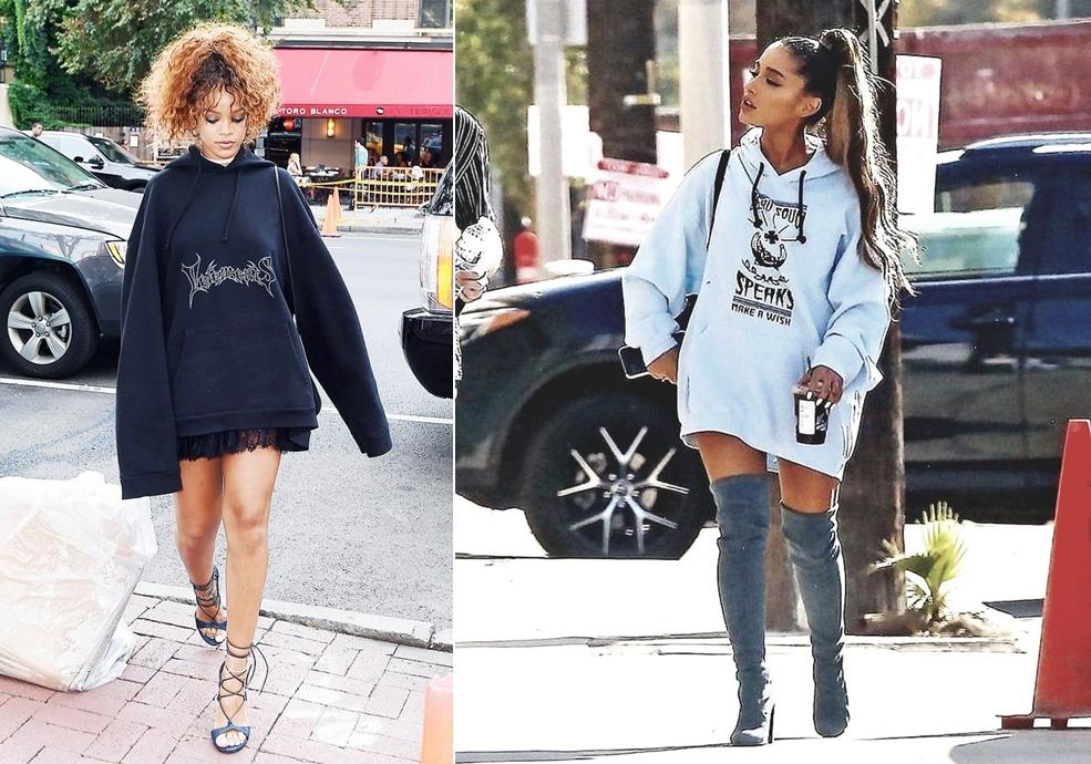 Ariana Grande (phải) và Rihanna