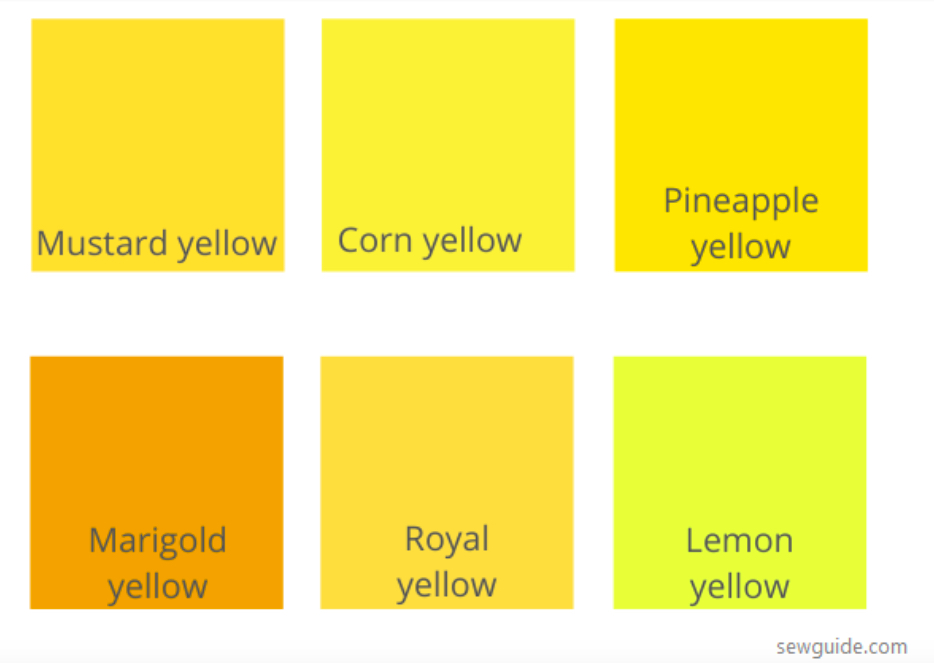 6 sắc thái của màu vàng