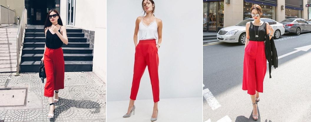 Quần màu đỏ kết hợp với áo màu gì? Áo 2 dây