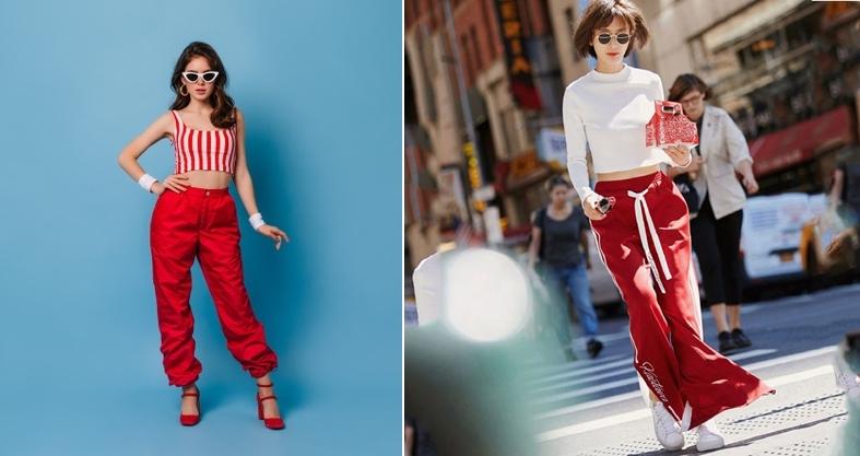 Quần màu đỏ kết hợp với áo màu gì? croptop