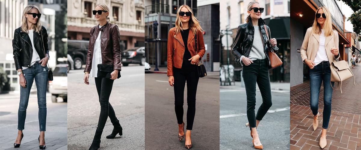 quần skinny phối áo khoác da