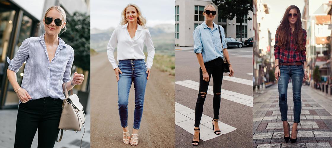 Quần skinny jeans + áo sơ mi