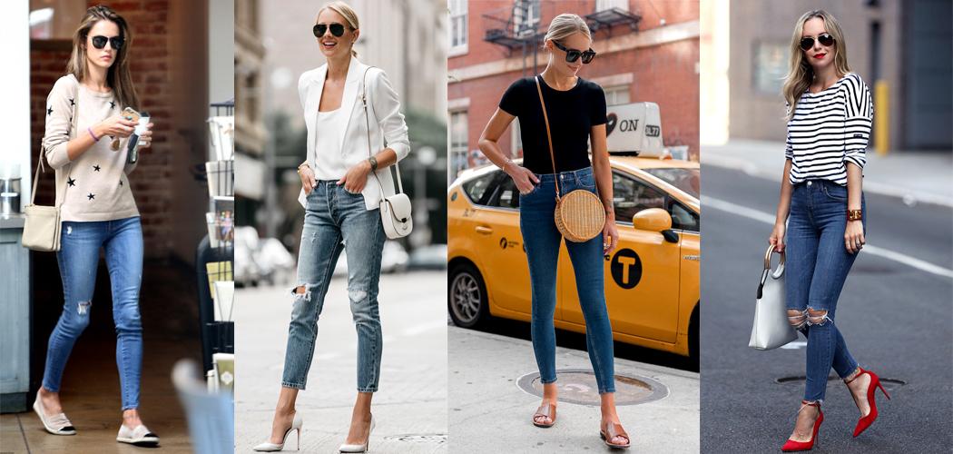Quần skinny jeans + áo thun