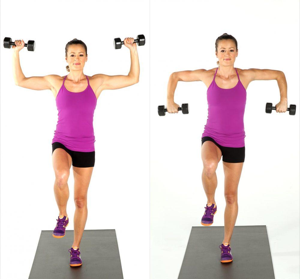 Các bài tập với tạ tay: Tập tạ kết hợp nâng cao đùi