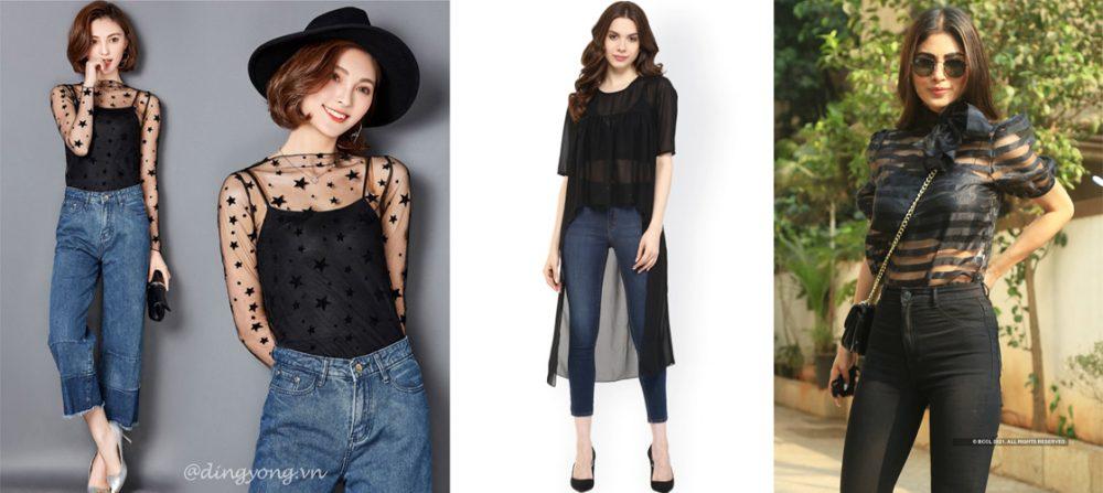 quần jean kết hợp cùng áo lưới