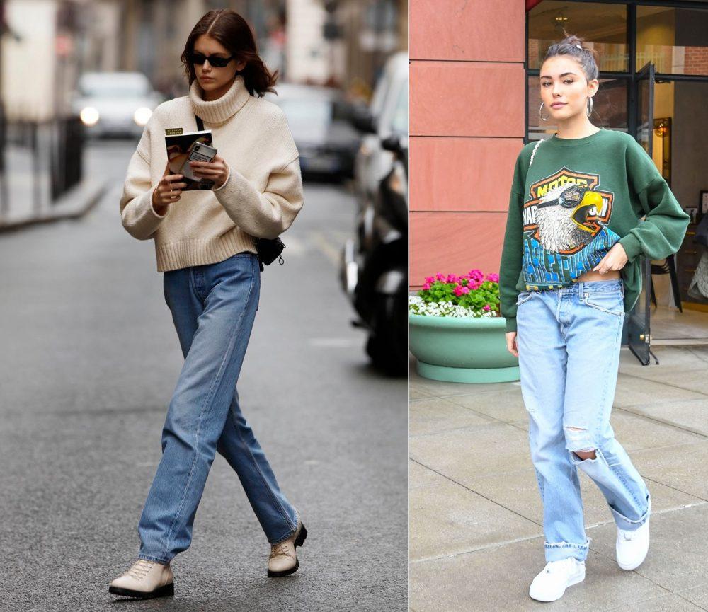 Quần jean ống rộng với áo sweater