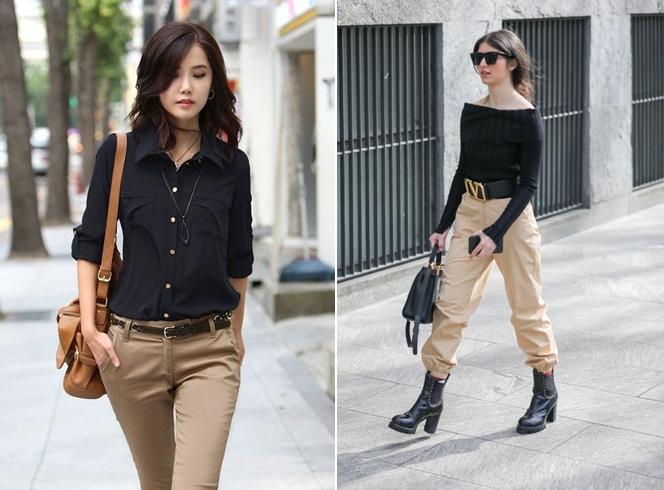 Áo đen mặc với quần màu gì? Áo đen với quần nâu/beige
