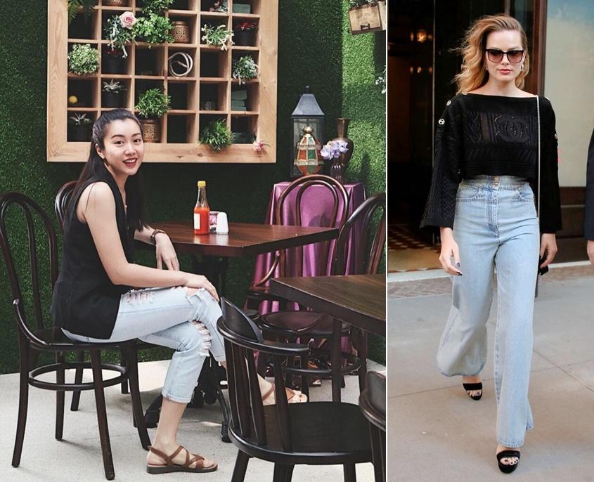 Áo đen kết hợp với quần màu xanh dương