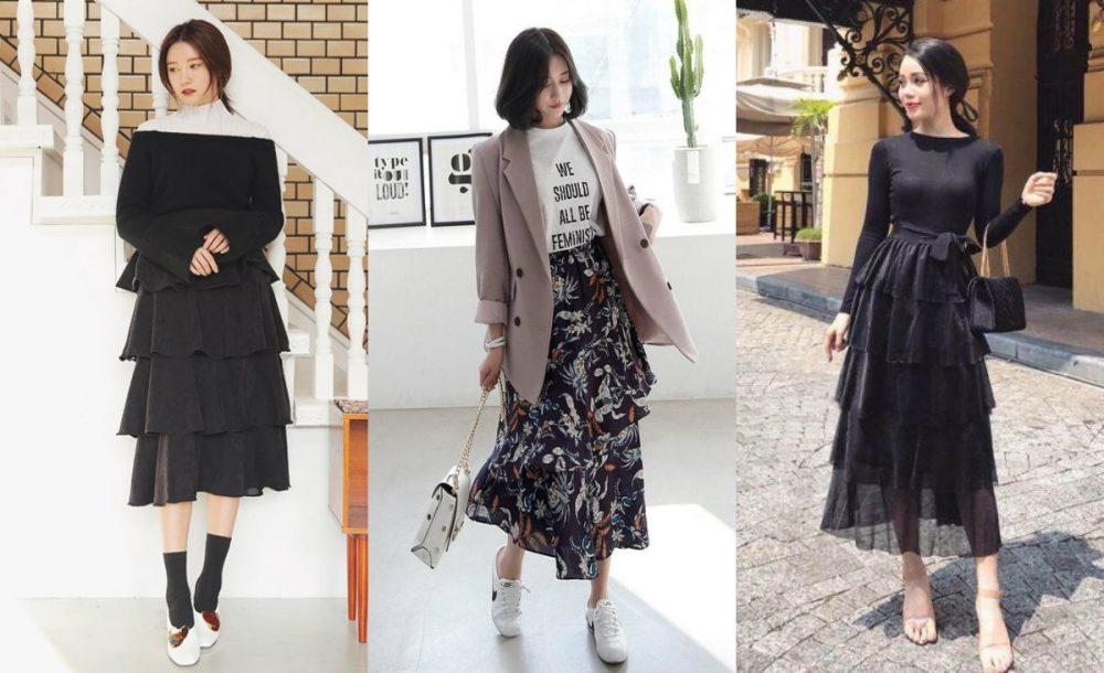 Người mập bụng nên mặc gì? Chân váy nhiều tầng