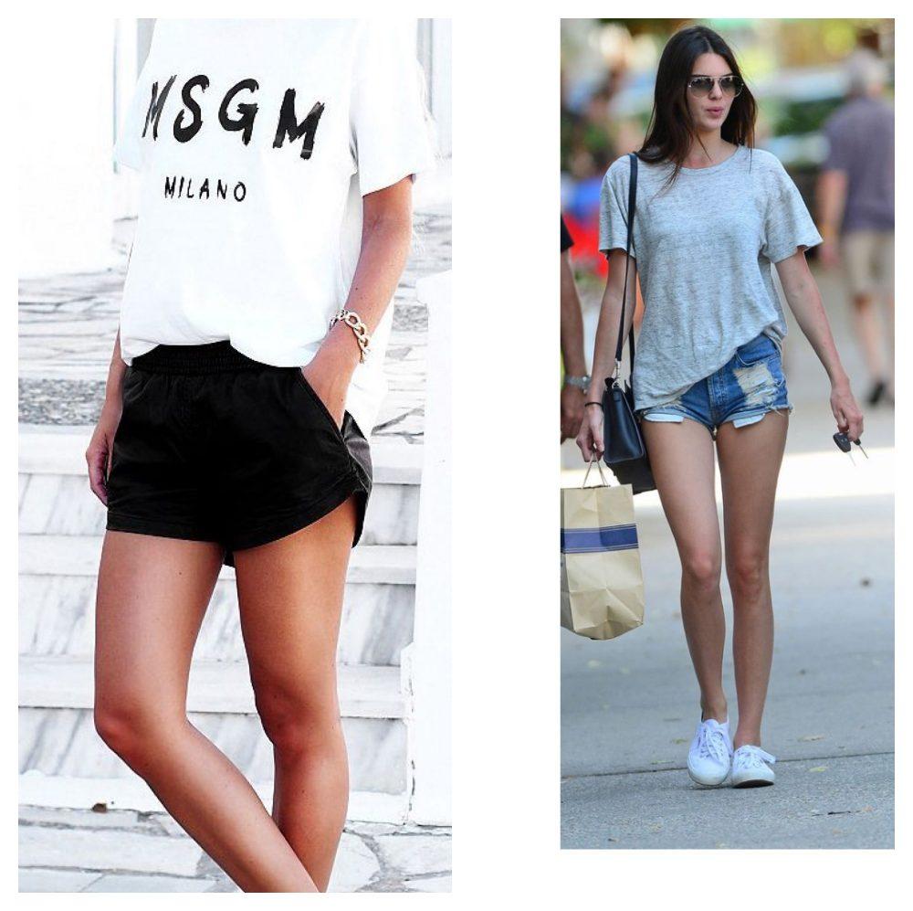 áo thun form rộng và quần short