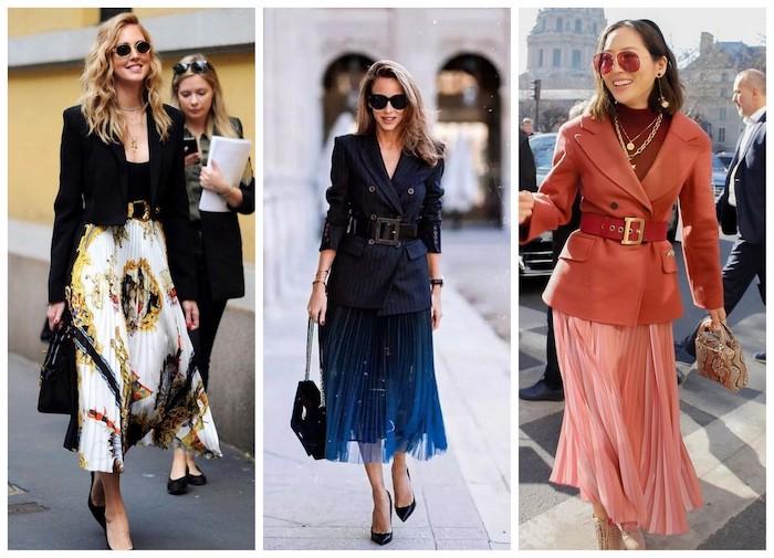 Váy xếp ly dài kết hợp cùng áo khoác blazer