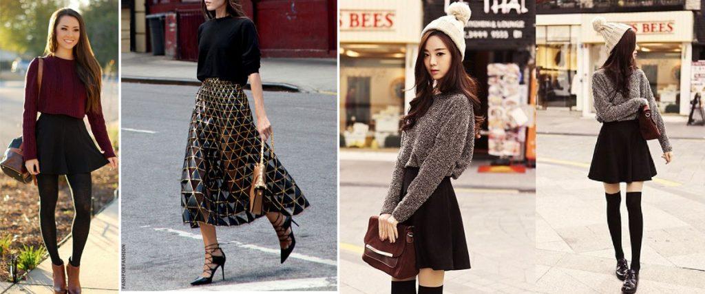 Cách phối đồ với chân váy xòe màu đen + áo len