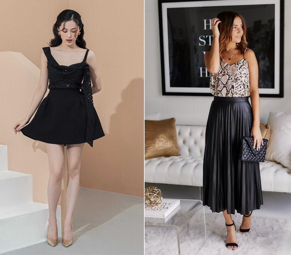 Váy đen phối cùng áo hai dây