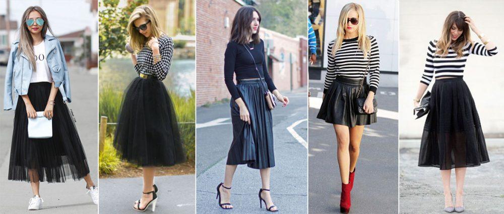 cách phối đồ với chân váy xòe đen