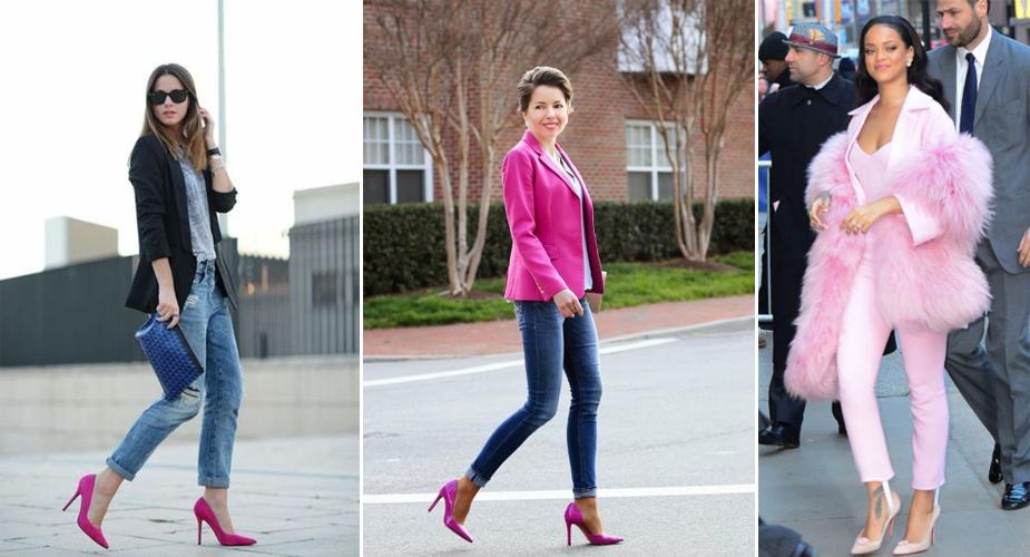 Cách phối đồ với giày màu hồng + quần jeans
