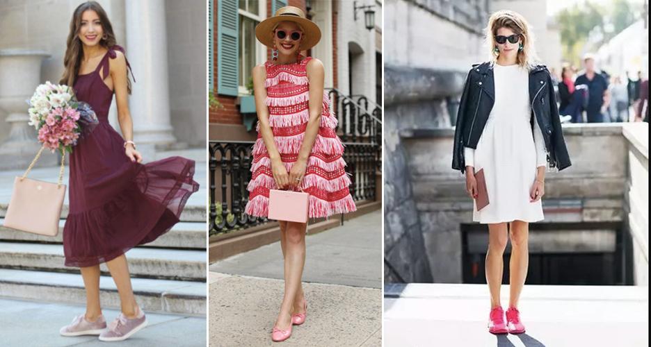 Giày hồng + đầm