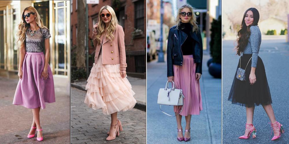 Cách phối đồ với giày màu hồng + váy midi