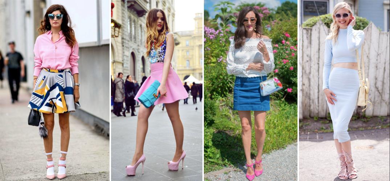 giày hồng và váy ngắn