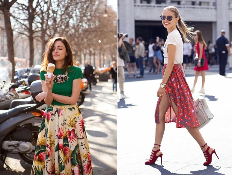 Chân váy xòe hoa nên mặc với áo gì? Phối với áo thun