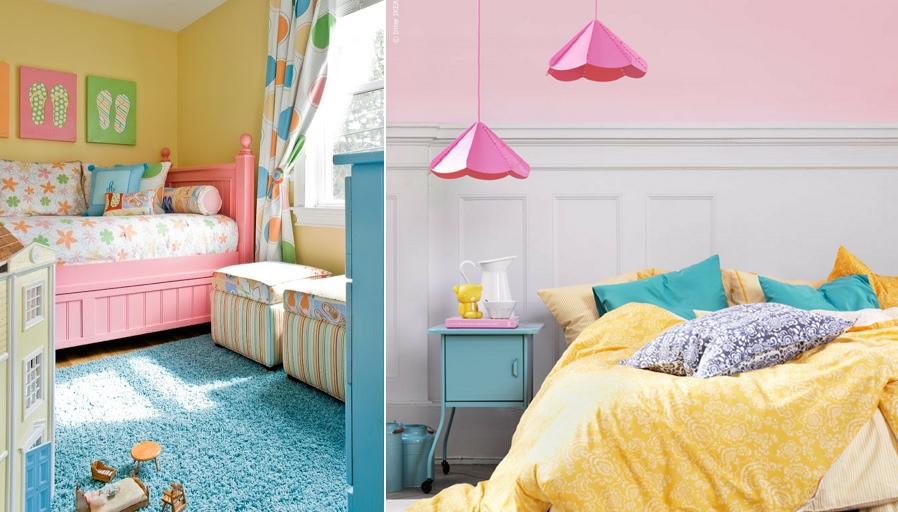 Hồng pastel phối với xanh dương và vàng