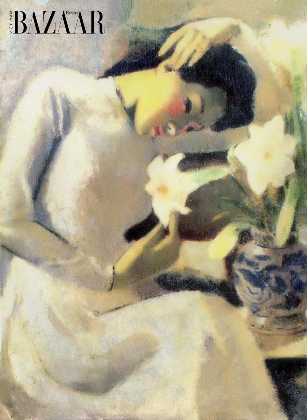 Bức tranh Thiếu nữ bên hoa huệ (1943) của danh họa Tô Ngọc Vân.