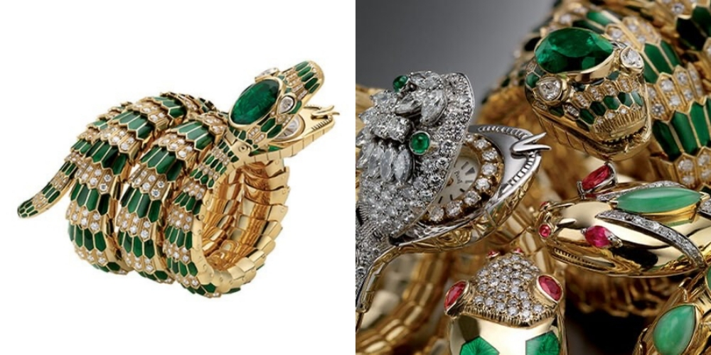 Đồng hồ đeo tay Serpenti bằng vàng với men xanh lục, ngọc lục bảo và kim cương, 1969.