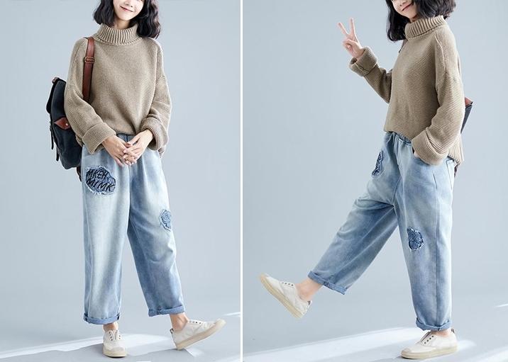Phối đồ với quần jean baggy cùng áo chui đầu