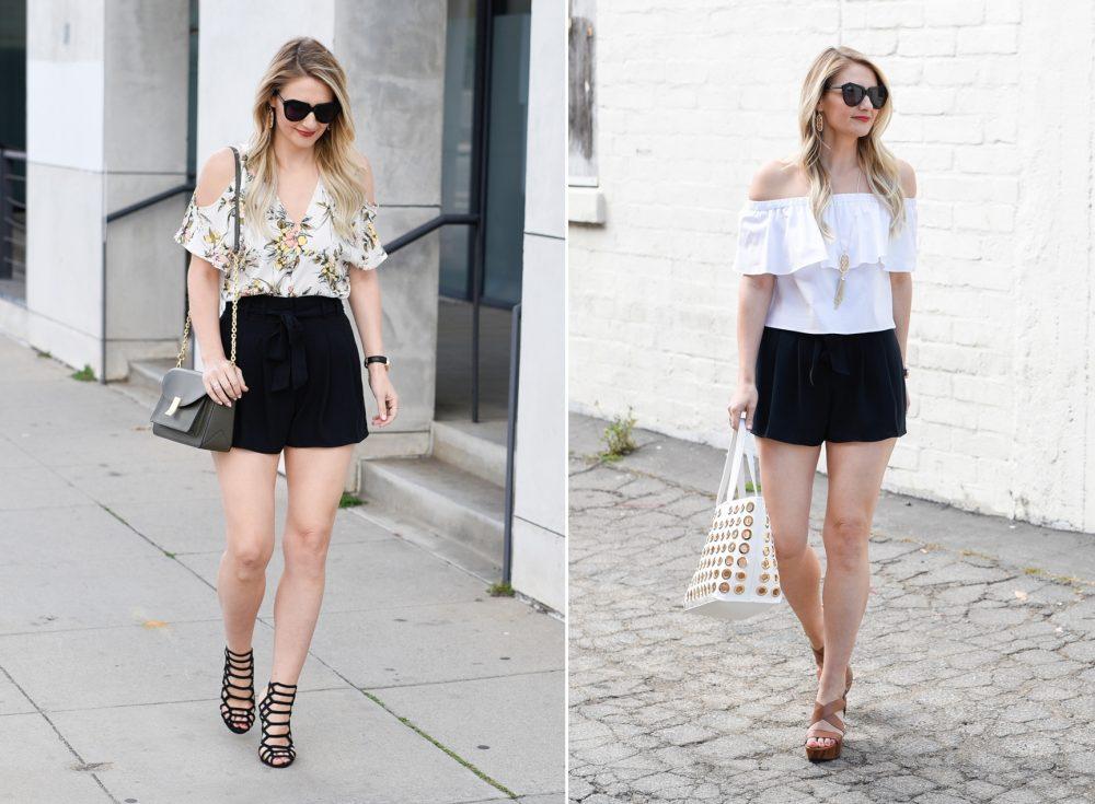 quần short và áo trễ vai