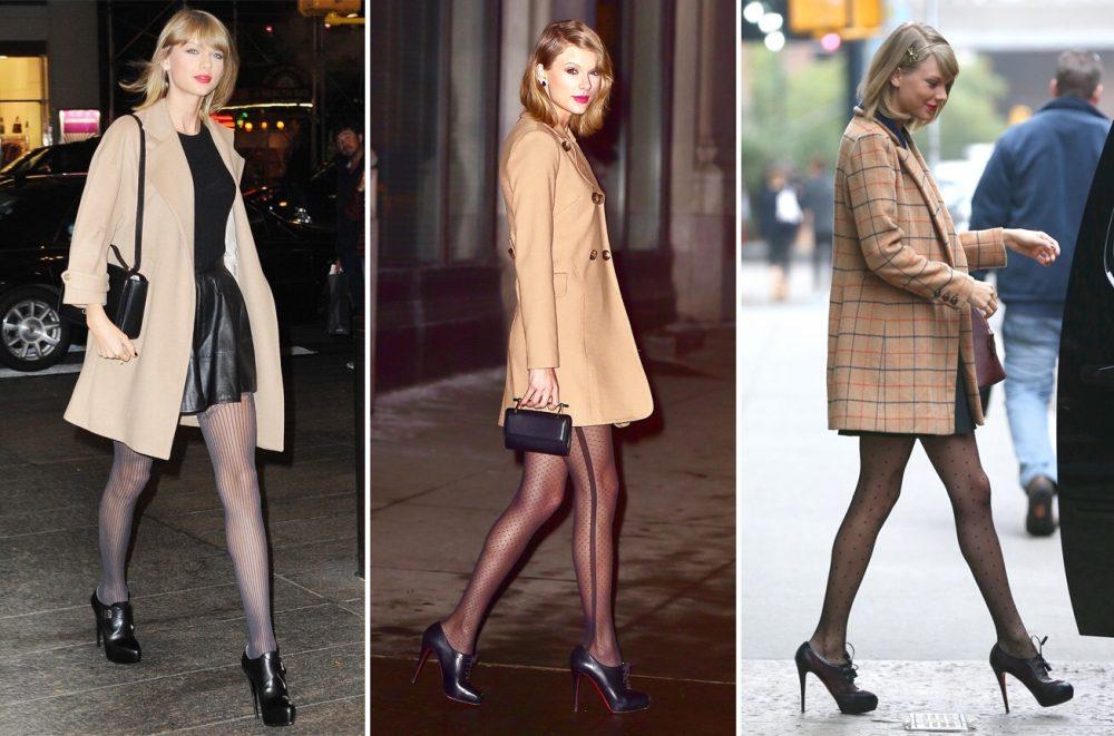 Taylor Swift mix đồ với tất đen dài
