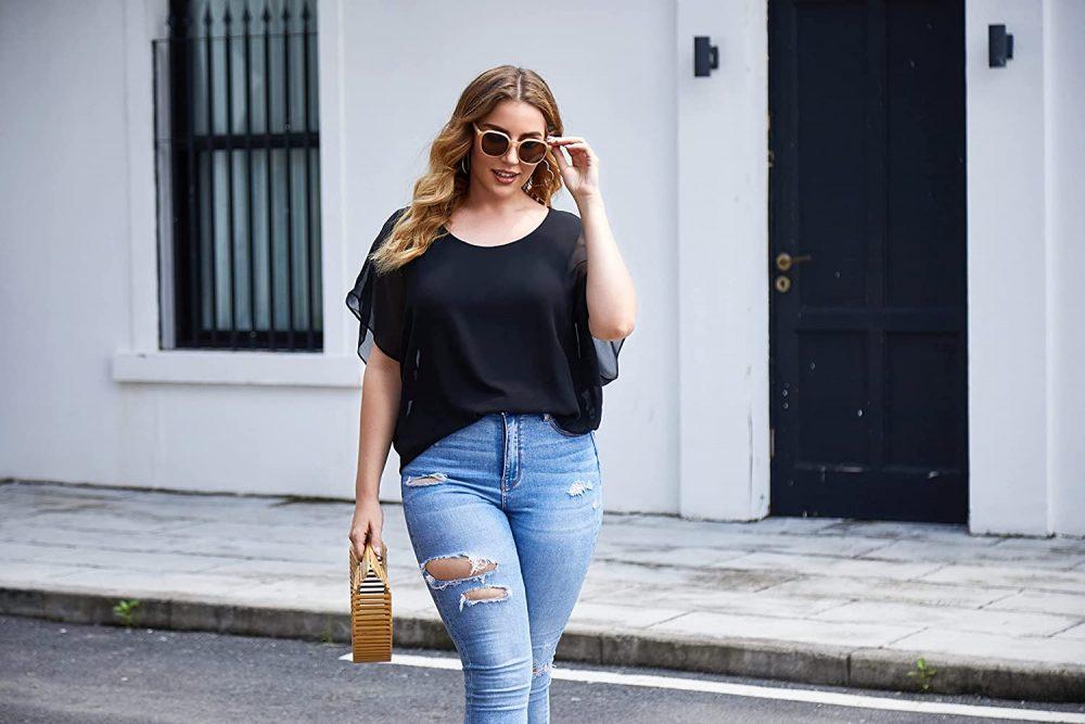 kết hợp skinny jean và áo cánh dơi