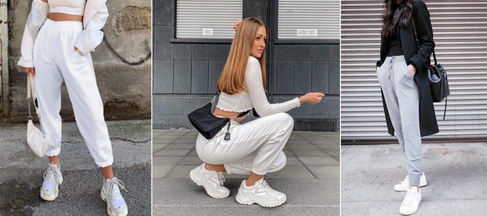 Giày thể thao trắng kết hợp với quần jogger
