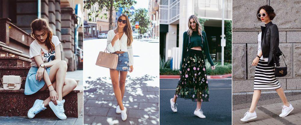 Mix giày sneaker trắng với váy