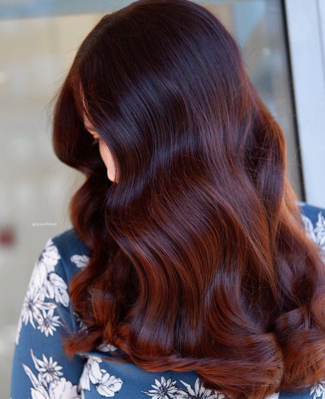 Nhuộm tóc balayage màu chocolate đỏ