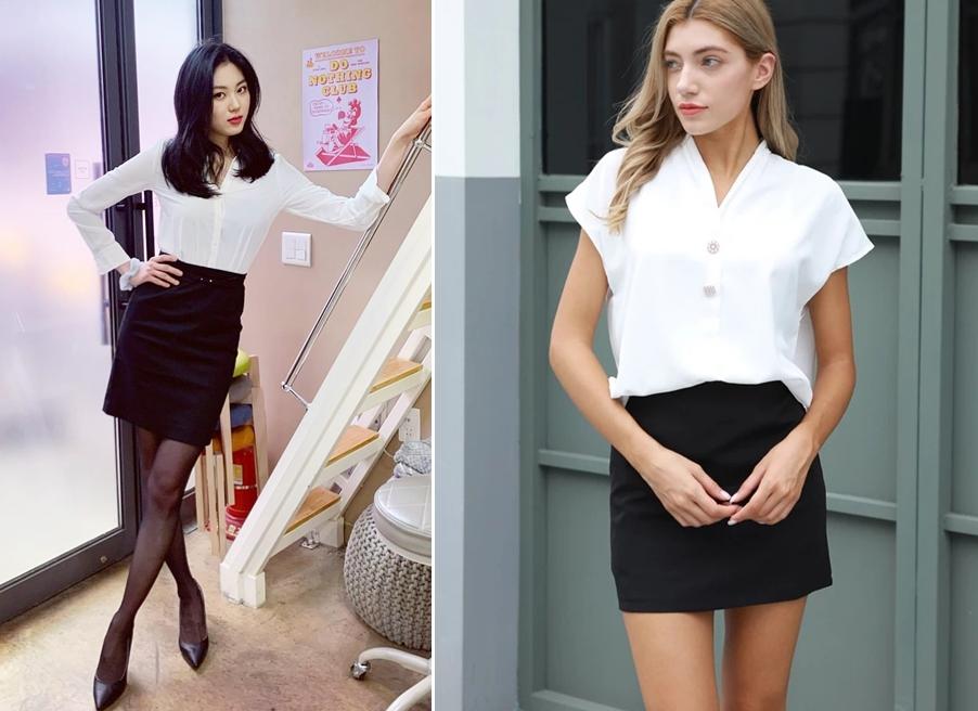 Chân váy đen ôm kết hợp với áo gì? Áo sơ mi