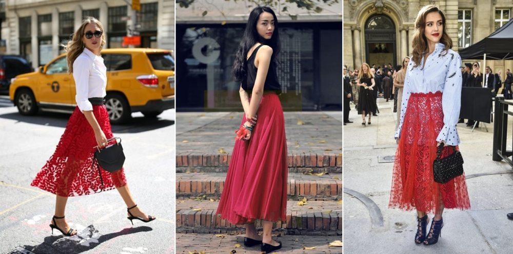 Chân váy đỏ đô kết hợp với áo màu gì?