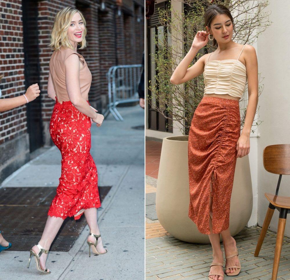 Chân váy đỏ phối cùng áo màu nude