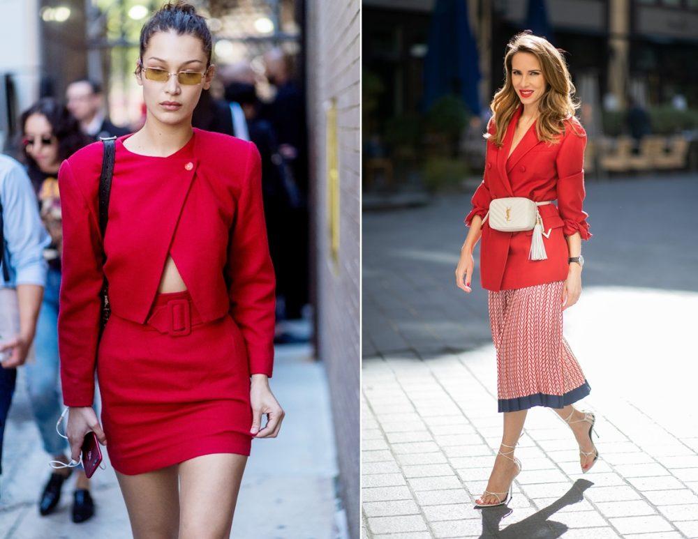 Chân váy màu đỏ đô kết hợp với áo màu gì?