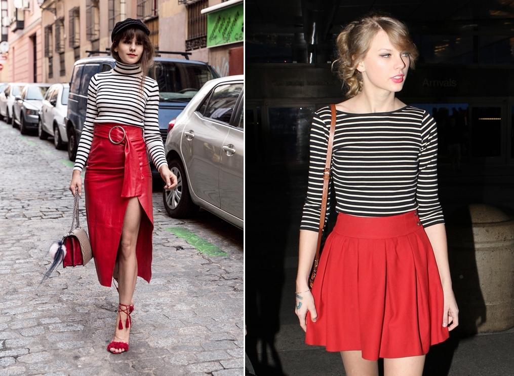 Blogger Michèle phối váy đỏ đô với áo kẻ sọc trắng đen