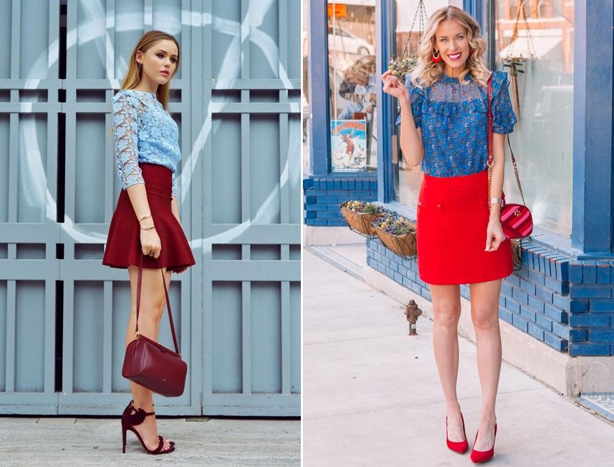 Váy đỏ kết hợp với áo màu gì?
