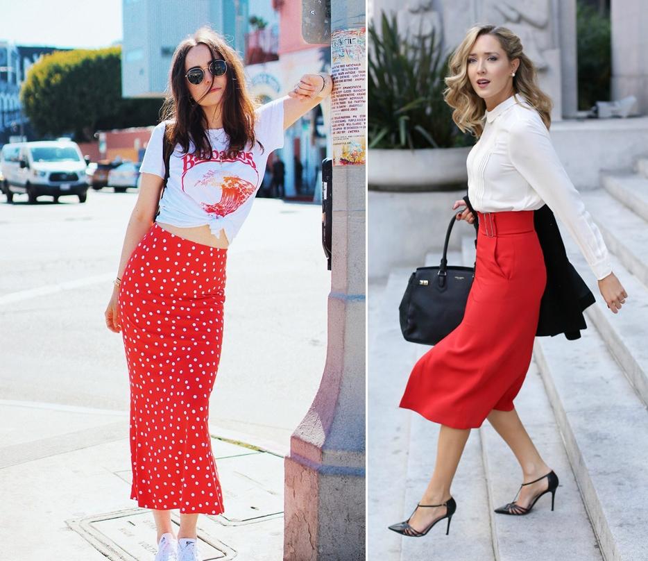 Váy đỏ đô mặc với áo màu gì? Áo trắng
