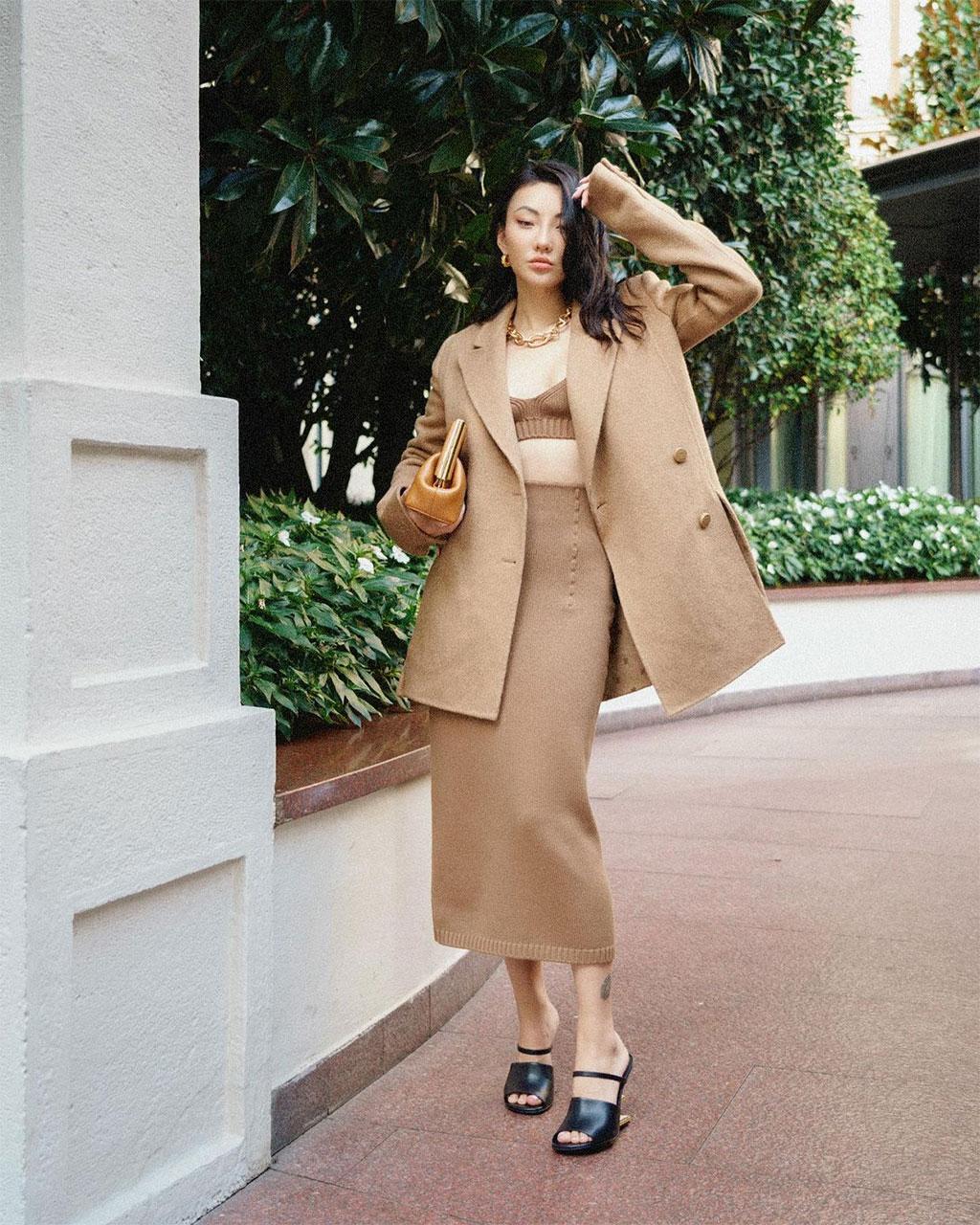 Street style Jessica Wang tại front row Fendi Xuân Hè 2022