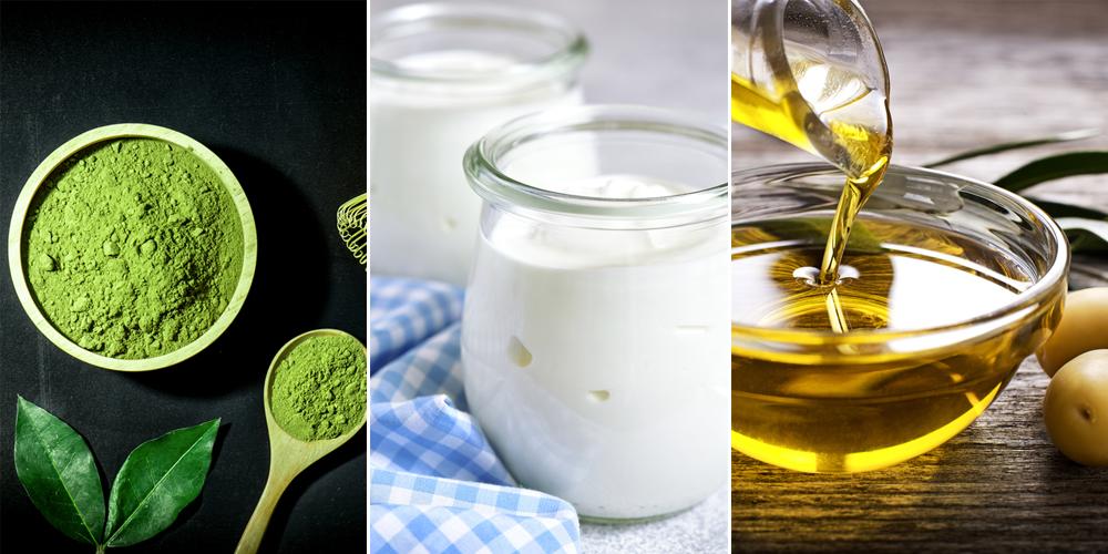 Mặt nạ trà xanh, sữa chua và dầu oliu
