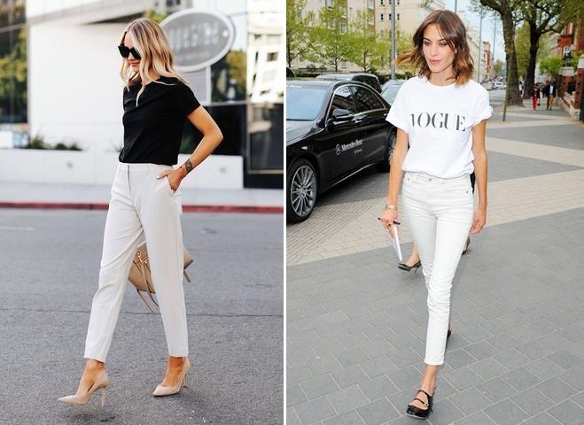 Quần jean trắng phối áo gì