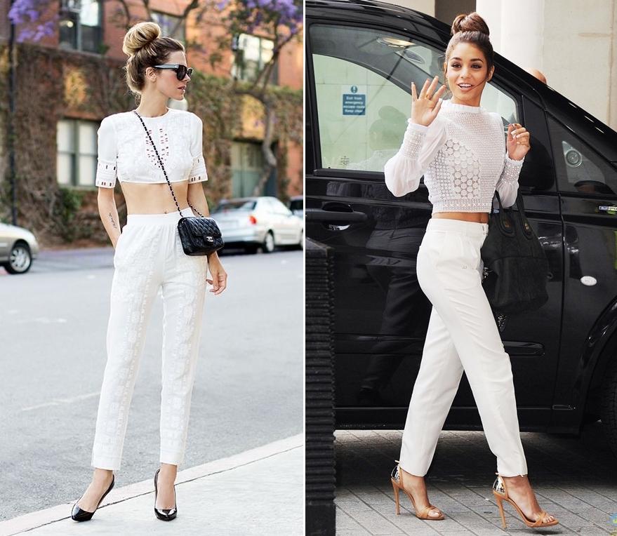 Vanessa Hudgens (phải) kết hợp quần trắng ống suông với croptop ren