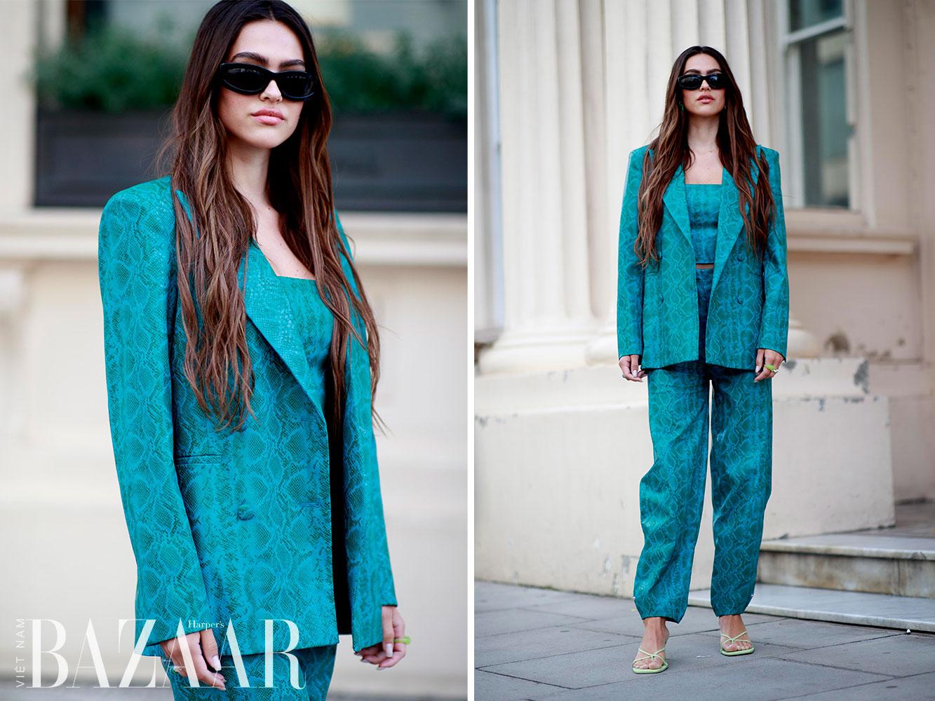 Street style tuần lễ thời trang London Xuân Hè 2022 10