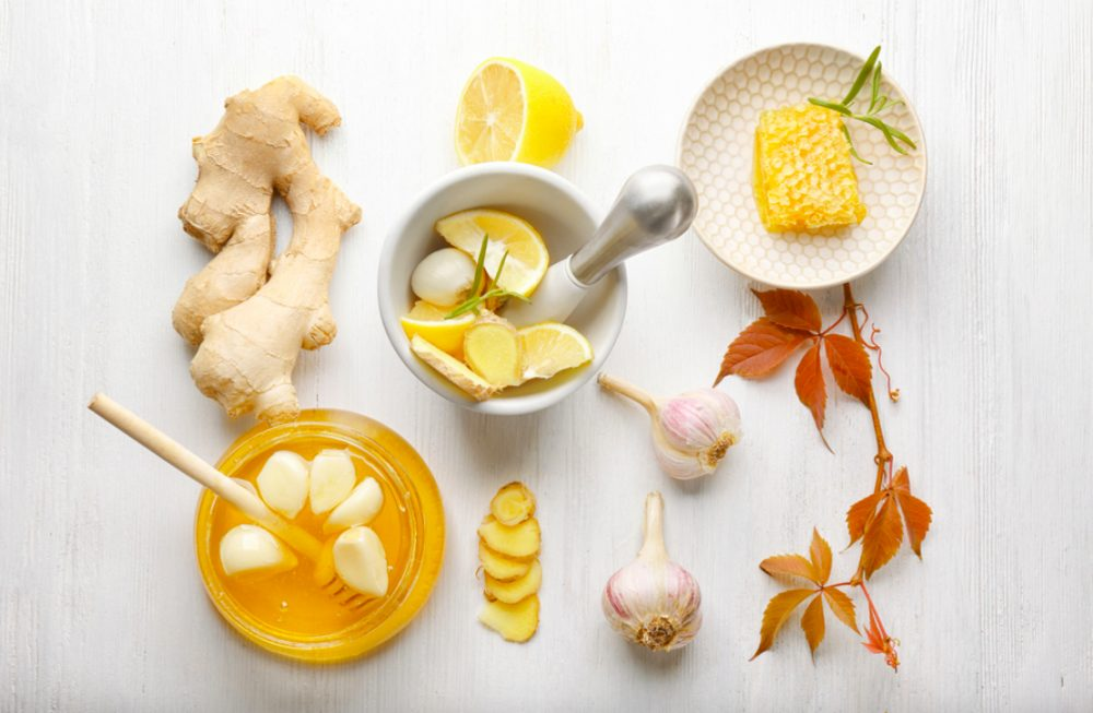 nguyên liệu chanh, tỏi, gừng, mật ong