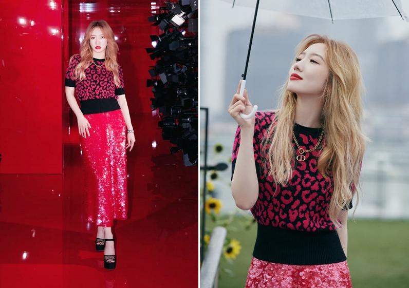 Mạnh Mỹ Kỳ phối áo và váy hồng