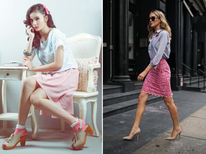 Chân váy hồng kết hợp với áo màu gì? Áo xanh dương
